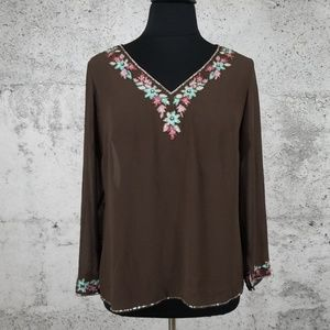 LANE BRYANT Sheer Beaded Yoke Tunic 14/16